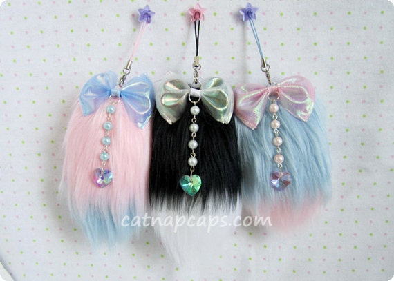 Customize Your Own Fluffy Mini Faux Fur Fox Tail Charm with Sparkling Heart Gem In Any Pink Blue Lavender Black White Combo Fairy Kei