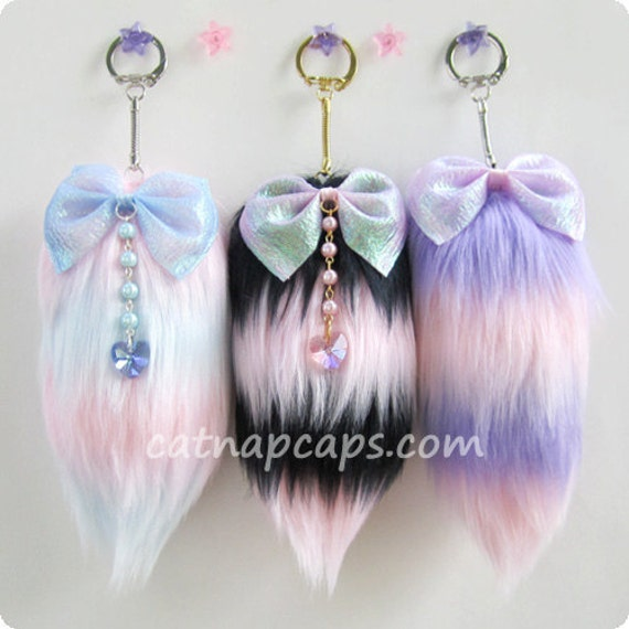 Customize your own fairy kei lolita striped tail any color combination lavender blue pink black and more
