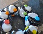 You sure can polka, Dot ... 7 Cube Lampwork Beads SRA