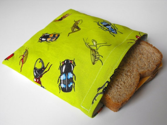 Bug Hunt Reusable Sandwich Bag w/ Water-Resistant Lining