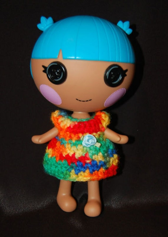 "Doll Clothes for 7"" Lalaloopsy Littles - Rainbow Dress with Light Blue Flower (A47)"