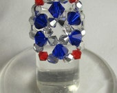Cocktail Ring Red, Silver & Blue Swarovski Crystals