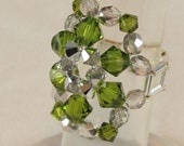 Cocktail Ring Olive Green and Silver Swarovski Crystals