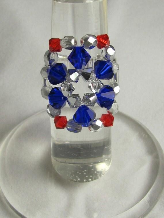 Cocktail Ring Red, Silver & Blue Swarovski Crystals