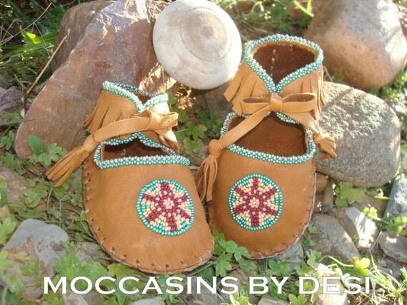 SALE Baby Moccasins By Desi, Beaded, Deerskin leather, lots of beadwork