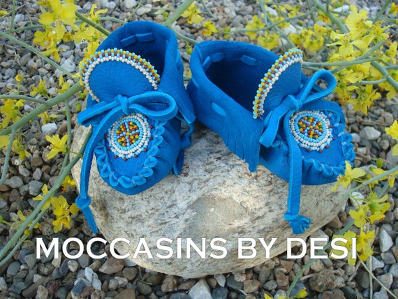 Baby Moccasins By Desi, Beaded, Dark Turquoise leather, lots of beadwork