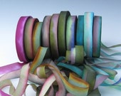 A Hanah Hand Dyed Silk Ribbon Collection,Hand Dyed Silk Ribbon, bias-cut 7/16 wide