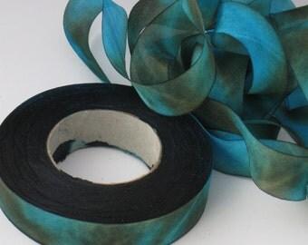 A Hanah Hand Dyed Silk Ribbon ,Hand Dyed Silk Ribbon, bias-cut 5/8 inch wide CP
