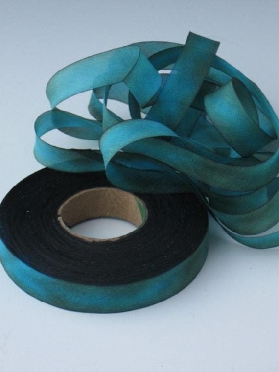 Silk Ribbon Hand Dyed  bias-cut, hand dyed silk ribbon