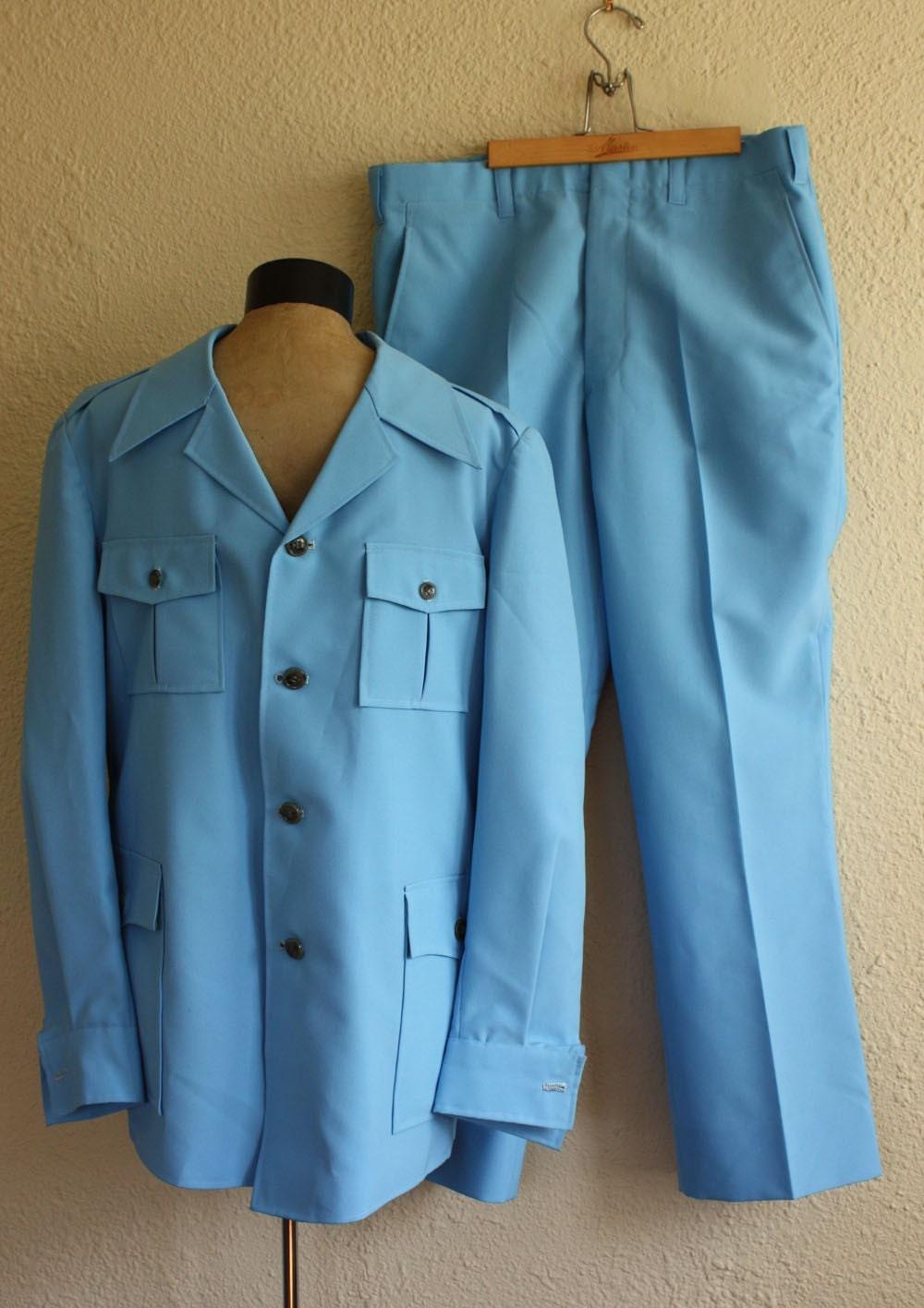 2 Piece Men S Sky Blue Leisure Suit Vintage 1970s