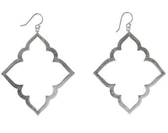 Silver Damask Lace Outline Dangle Earring