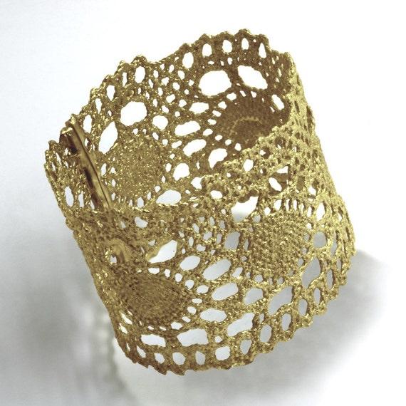 Gold Delicate Vintage Lace Cuff Bracelet