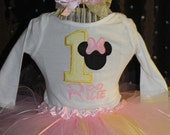 Baby Minnie Mouse Birthday pink and yellow Tutu Outfit with Skirt Tutu top and bow, Great for 1st 2nd 3rd Minnie Birthday