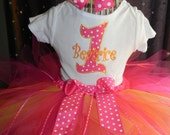 Birthday Tutu Outfit with Skirt Hot Pink Yellow Orange, Boutique bow, head band, Great for Birthday CAN embroider monogram