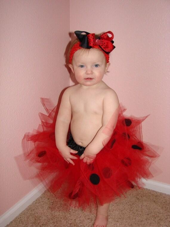 Ladybug Infant Baby, Toddler or girls TUTU and layered boutique hair bow