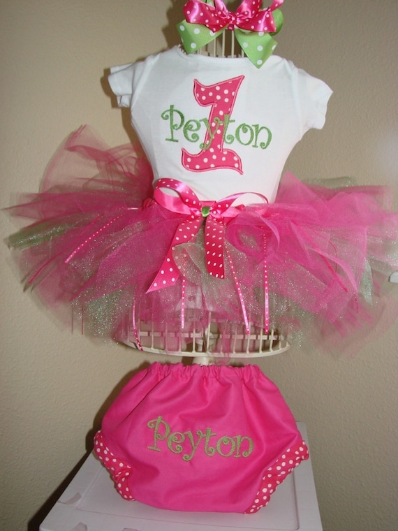 Tutu Outfit with bloomers / diaper cover Pink and Green, Boutique bow, head band, Great for 1st 2nd 3rd Birthday long or short sleeves