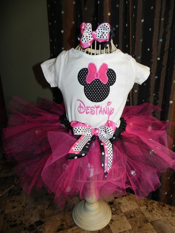 Mouse Birthday Tutu Outfit with Skirt Tutu Bling bows, Great for 1st 2nd 3rd Minnie Birthday