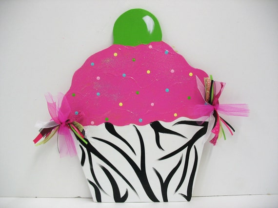 Items similar to birthday cupcake wall decor zebra print for Cupcake wall art