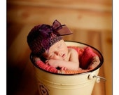Newborn Beanie Hat - Purple, Red, Brown Yarn with Purple Bow - Professional Photo Prop