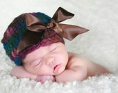 Newborn Beanie Hat -ONE AVAILABLE - Purple, Blue, Green, Brown Yarn with Brown Bow - Professional Photo Prop