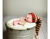 Funky Organic Red and Green Elf Stocking Hat with Long Tail and Tassle - Newborn Baby Photo Prop