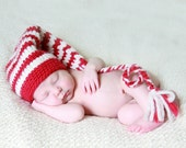 Red and Ivory Elf Stocking Hat with Long Tail and Tassle - Newborn Christmas Baby Photo Prop