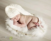 Handmade Organic Elf Stocking Hat with Long Tail and Tassle in Ivory - Newborn Baby Photo Prop