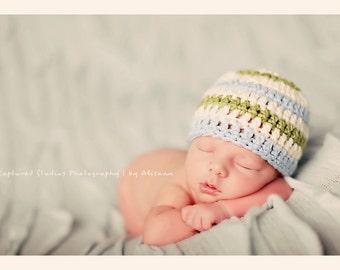 Organic Cotton Beanie Hat - Ivory, Blue, and Sage Stripes - Newborn Baby Photo Prop