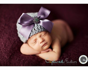 Organic Cotton & Soy Beanie Hat - Gray Hat with Dusty Lilac Satin Bow and Rhinestone Floral Button - Fancy Newborn Photo Prop