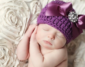 Organic Cotton Beanie Hat - Plum Purple Hat with Satin Bow and Rhinestone - Fancy Newborn Photo Prop