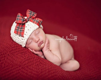 Organic Cotton Beanie Hat - Ivory with Plaid Christmas Bow - Newborn Photo Prop