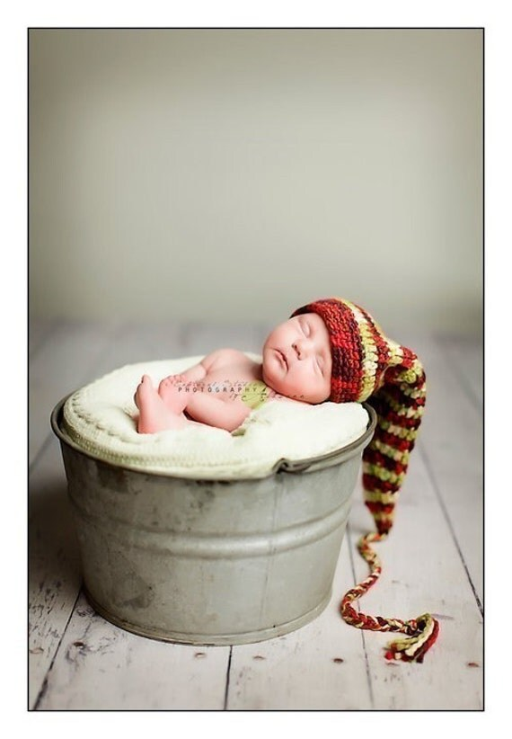 Funky Organic Red and Green Elf Stocking Hat with Long Tail and Tassle - Newborn Christmas Baby Photo Prop