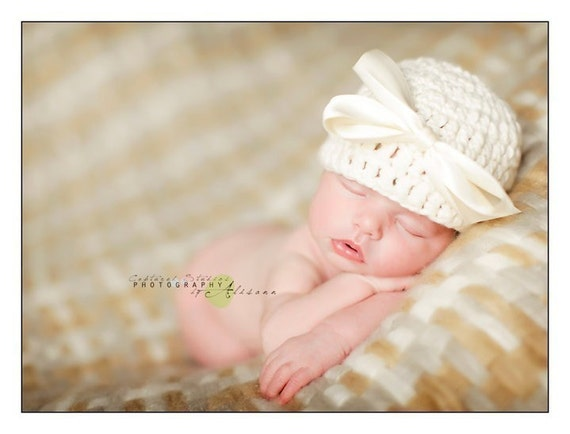 Organic Cotton Beanie Hat - Ivory with Satin Bow - Newborn Photo Prop