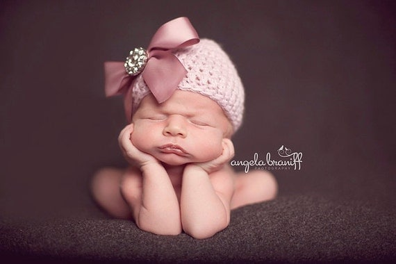 LAST ONE - Organic Cotton Beanie Hat - Light Pink/Mauve Hat with Satin Bow and Rhinestone - Fancy Newborn Photo Prop