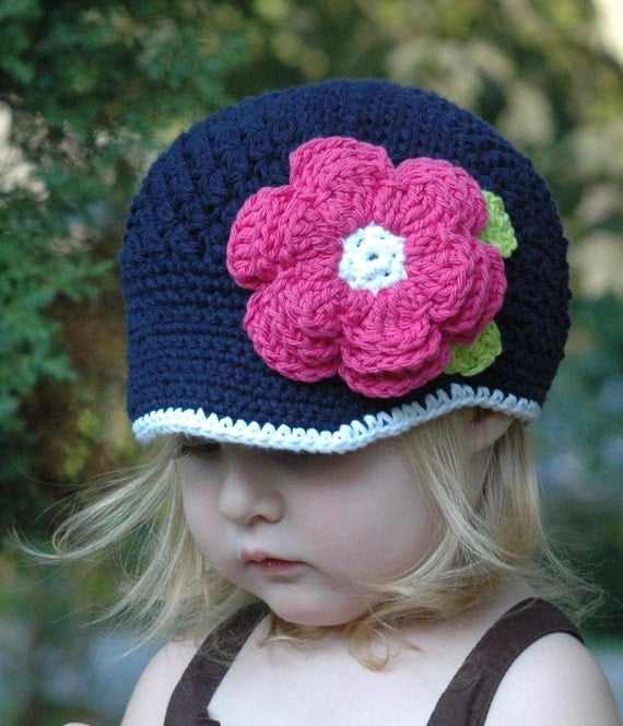 Navy and Hot Pink Newsgirl Hat with Flower - 2-4 Years