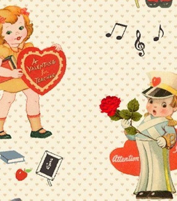 Love Notes by Marcus Bros Fabric Vintage Valentine 1 yard