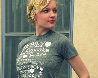 Last One-Honey, Cupcake, sweetpea- TERMS of ENDEARMENT boyfriend style tee/ XS organic cotton/ P.E. tee