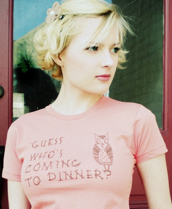 Cleaning Out Our Closet Sale-Guess Who's Coming To Dinner- womens t-shirt in Medium