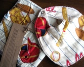 baseball baby 2 piece gift set...Rag Quilt Luvy and Bib.....ReAdY to SHiP............