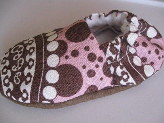 birdy boots 'Pinky Dots' - soft baby shoes - Newborn 0-6 mos 6-12 12-24