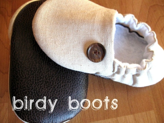 linen baby shoes 'Gretchen'  soft baby shoe ...cream tan...newborn to 24 months...by birdy boots on Etsy