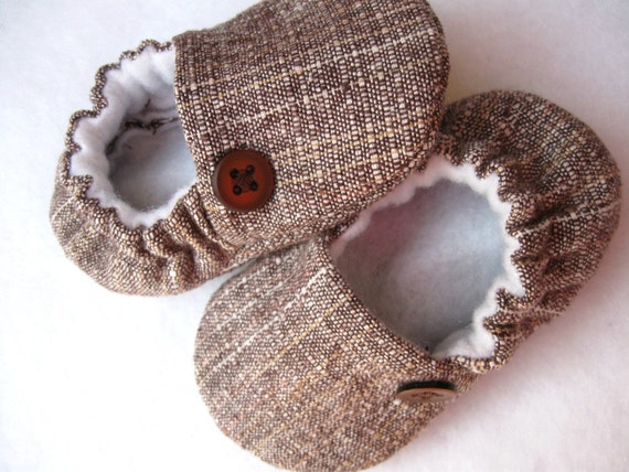 linen baby shoes 'Tom'  soft baby shoe ..brown cream tan...newborn to 24 months...by birdy boots on Etsy
