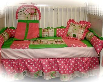 John Deere pink dot crib bedding - Free personalized pillow
