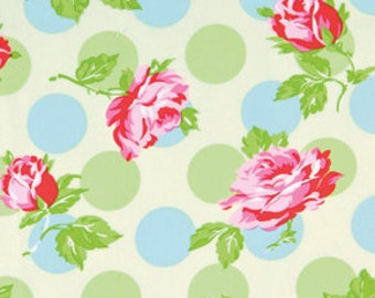 Falling  Roses Fabric  Sugar Hill  Tanya Whelan Pink Roses on Ivory