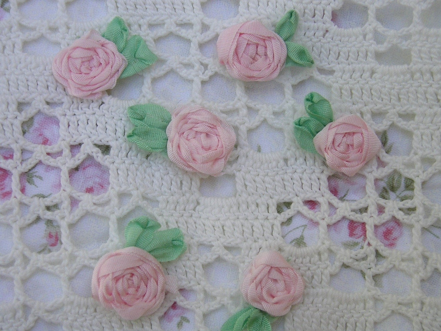 Silk ribbon embroidered spider web roses in by