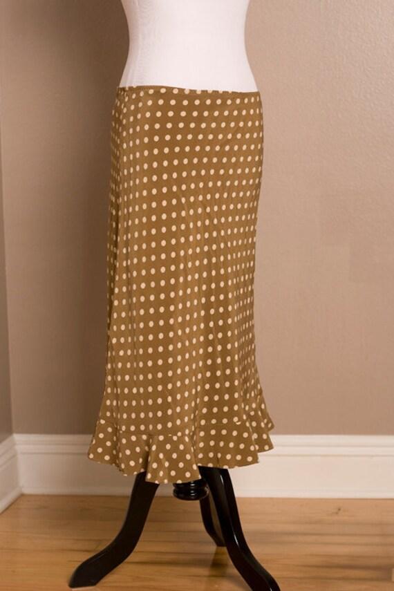 Retro Caramel Polk A Dot Skirt by Banana Republic