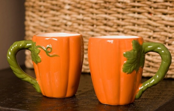 Morning Harvest - Set of 2 Pumpkin Mugs