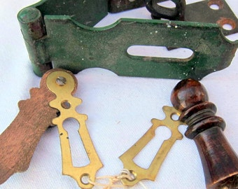 Vintage Iron and Metal Door Hinges, Lock and Things