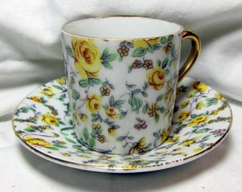Vintage Yellow Flower Demitasse Cup and Saucer with Gold Trim