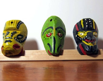 Vintage Set of Three Hand Made, Carved and Painted Wooden Miniature Masks